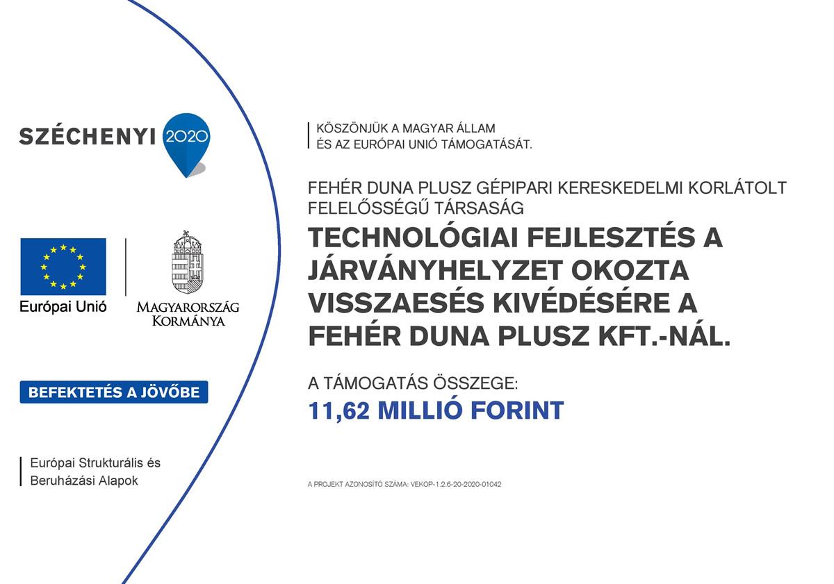 Technológiai fejlesztés a Járványhelyzet okozta Visszaesés kivédésére a Fehér duna plusz kft.-nál.